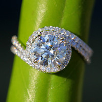 Wedding Set - 14k White gold - Diamond Engagement Ring and matching band - Halo - UNIQUE - Thin Swirl - Pave - Bp0013