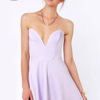 LULUS Exclusive Flare Share Lavender Strapless Dress