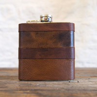 Initialled Leather Hip flasks - Recycled Leather Strips, Hand Engraved, Best Man, cowboy leather