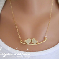 Love Birds on Branch Necklace in Gold  dainty by morganprather