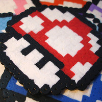 Colored Mario 1UP Mushroom Coasters or Magnets by BeadxBead