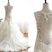 Lace Beading Open Back See through Ruffle Organza by wonderxue