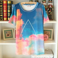Retro Gradient Triangle Tshirt
