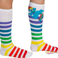 Rainbow Dash Striped Knee High Socks