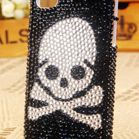 Apple iPhone 4S 4G 3GS iPod Touch Black Crystals Danger Skull Back Cover - GULLEITRUSTMART.COM