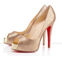 Glitter Satin Sheepskin Pumps [TQL120305002] - $50.49 :