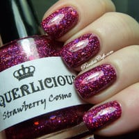 Strawberry Cosmo - Magenta Hologram Glitter Custom Indie Nail Polish