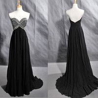 Cheap 2013 Sweetheart Strapless Chiffon Beaded Beading Crystals Prom Dresses