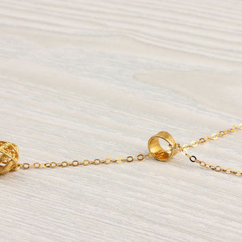 """Lariat gold necklace, bridesmaid gift, knot necklace, gold vermeil, circle necklace, modern minimalist, """"Ianthe"""" Necklace"""