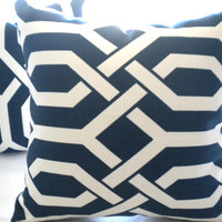 Designer trellis Navy and white pillow cover 16 x 16