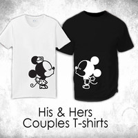 His & Hers TShirts  Couple Kissing by KirbyGraphix on Etsy