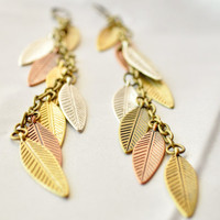 7 inch metal leaf earring in gold silver by JooniebeadsTreasures