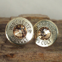 Bullet Earrings  Colt 45 Gold Rush Ultra Thin Colt by ShellsNStuff