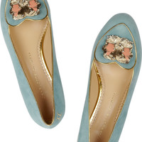 Charlotte Olympia - Gemini suede slippers