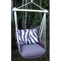 Outdoor Indoor Hammock Swing Chair w/ Pillow BROWN White ZEBRA stripes CHZBLT-SP
