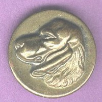 Spaniel dog head button antique brass BUTTON