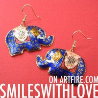 SALE Elephant Shaped Tribal Polka Dot Bright Blue Dangle Earrings