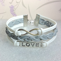 Love Symbol Bracelet,Infinity Bracelet.White Wax Cords and Grey Braid bracelet.