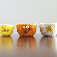 felted bowl  pumpkin orange wool bowl with citrus by thefelterie