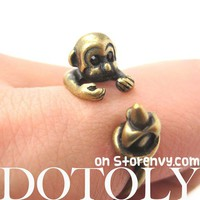 Miniature Monkey Banana Animal Wrap Around Ring Bronze Sizes 4 to 8.5