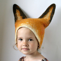 Fox Hat  Hand Felted Wool  Size Medium / Large by vaivanat on Etsy