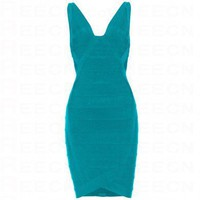 Bqueen V-neck Bandage Dress Green H148G