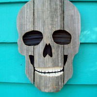 Skull made of recycled wood and plastic upcycled by JohnBirdsong