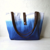 Ombre shoulder bag, tote bag, Hand dyed cotton gabardine fabric in monaco blue color, faux suede handles.