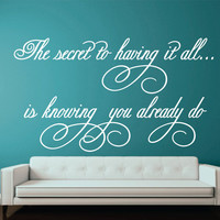 "Girl Bedroom Wall Quote Decal - Vinyl Wall Words - Nursery-Wedding-Reception-Elegant Script  22""H x44""W"