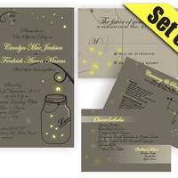 Printable Mason Jar Fireflies Wedding Suite Invitation RSVP Direction And Menu Inserts by DigiFoto