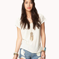 Linen-Blend Lace Top