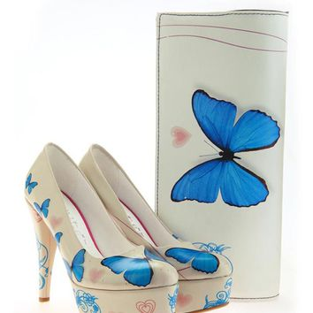 Elite Goby Butterfly & Heart Print Heel & Clutch Set - Ladies Shoes & Handbags by Elite Goby - Modnique.com