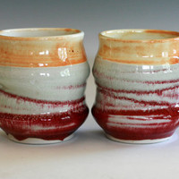 Pair of Porcelain Coffee Mugs, handmade ceramic cups