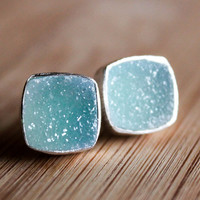 Turquoise Blue Druzy Stud Earrings - Ice Blue Geode - Post Setting