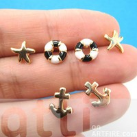 Small Anchor Life Buoy Nautical Starfish Stud Earring 6 Piece Set