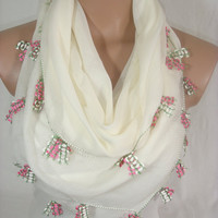 Traditional Turkish Yemeni Pure Cotton Needle Lace Oya Scarf by Arzu's Style