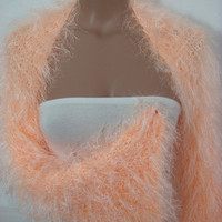 Hand knitted crocheted (Orange) long sleeve wedding bridal bolero shrug by Arzu's Style
