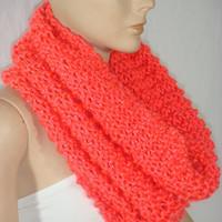 NEW - Hand Knitted Hooded Cowl/Scarf/Neck Warmer (Neon Coral) by Arzu's Style