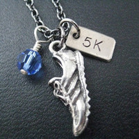 RUN 5K with Race Month Crystal Charm - 5k Running Necklace on 18 inch gunmetal chain - Choose Your Race Month Crystal - Running Jewelry