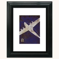 Distressed Vintage Transportation Airplane Print by littleredflag