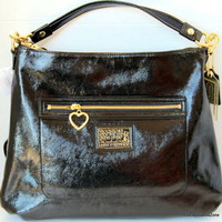 COACH HOBO Daisy Liquid Purse Handbag Black Patent Leather 100% Authentic F20108
