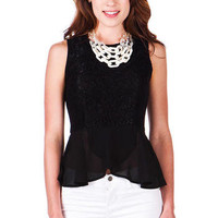 Avenue Montaigne Lace Peplum Top