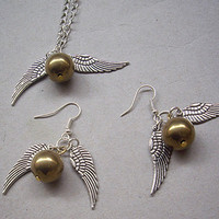 Golden Snitch Necklace and Earrings SET by qizhouhuang on Etsy