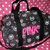 Amazon.com: Victoria's Secret PINK Black Sequin Bling Crest 86 Mini Duffle Bag: Beauty