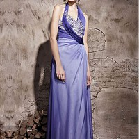 [325.82] In Stock Gorgeous Gradient Tencel & Malay Satin A-line Halter Neckline Floor-length Evening Dress With Beads  - Dressilyme.com
