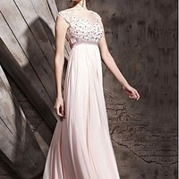 [320.49] In Stock Gorgeous Tencel & Malay Satin & Transparent Net  A-line Illusion High Neckline Floor-length Evening Dress  With Beads  - Dressilyme.com