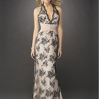 [298.73] Stunning Lace Sheath Halter Neckline Prom Dress - Dressilyme.com