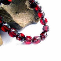Red Speckle Glass Bead Picasso Beads 10 Beads