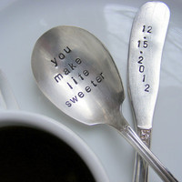 Hand Stamped Spoon and Knife Set by BabyPuppyDesigns on Etsy