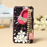 Apple iPhone 4S 4G 3GS iPod Touch Black Crystal Shoe White Flowers Back Case - GULLEITRUSTMART.COM